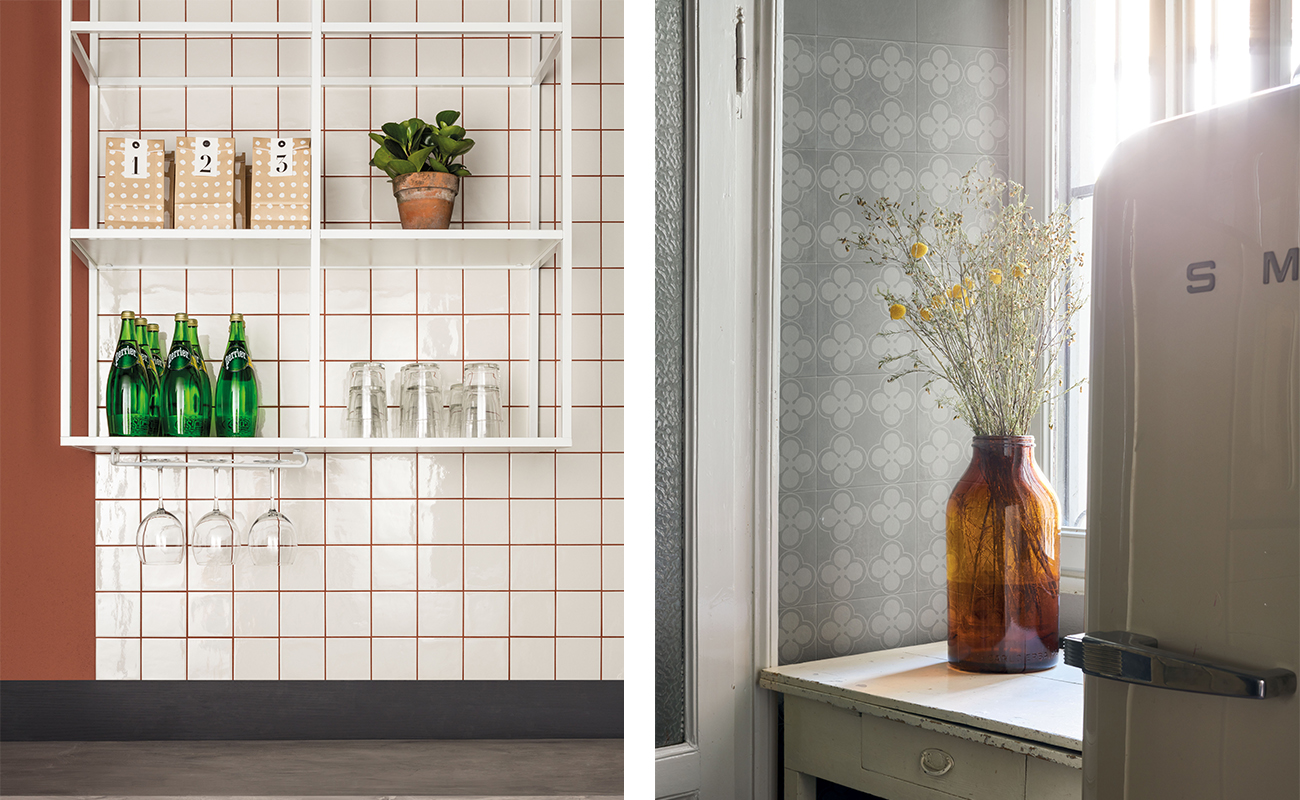 Light coloured tiles for a small kitchen