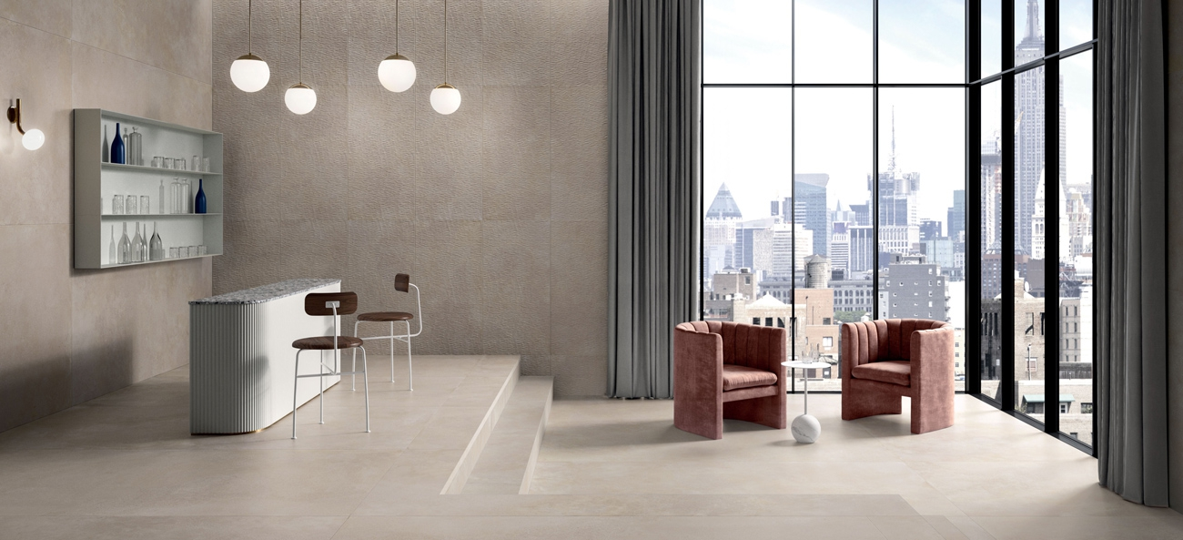 Marca Corona tiles in white body and porcelain stoneware