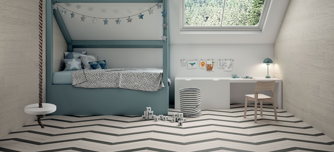 Marca Corona tiles in white body and porcelain stoneware