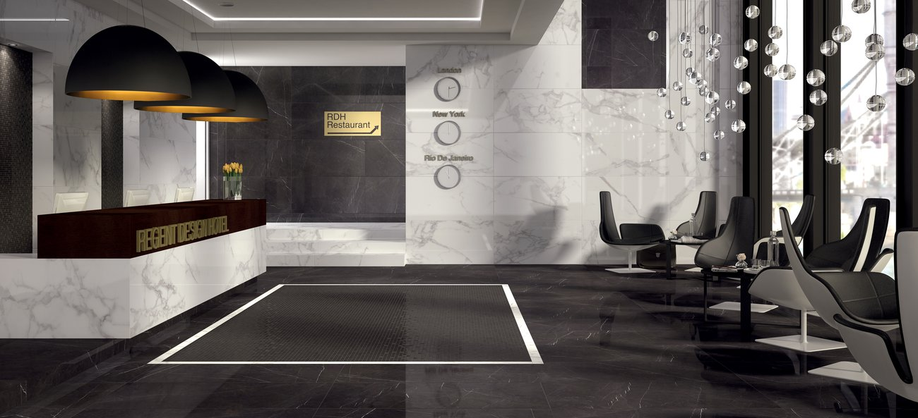 Marble-effect porcelain tiles Deluxe