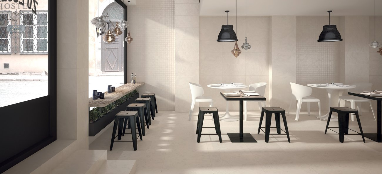 Work: a series of cement-look tiles in porcelain stoneware, for a metropolitan look