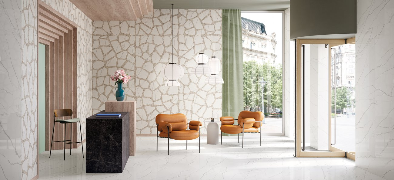 Marble effect wall tiles for the home Foyer