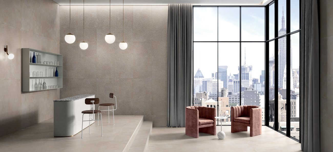 Phase concrete-effect flooring and stoneware wall tiles